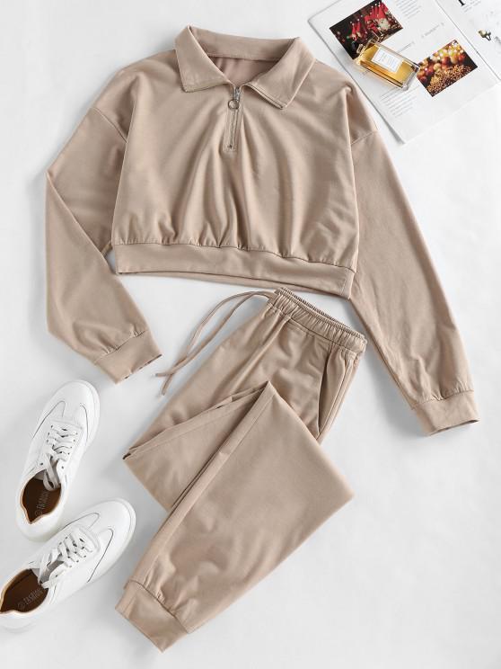 hot ZAFUL Half Zip Crop Sweatshirt and Pants Sport Suit - CAMEL BROWN XL