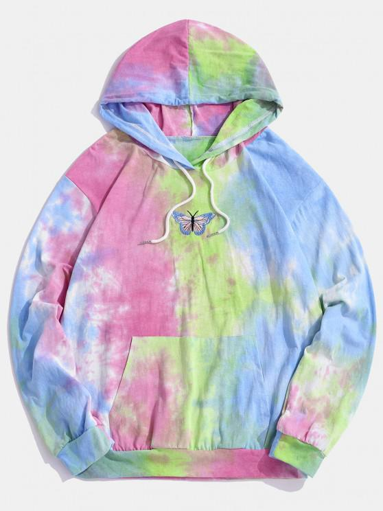 Embroidery Butterfly Tie Dye Hoodie - أزرق فاتح 2XL