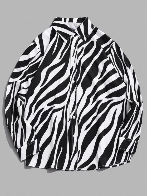 shop Lounge Zebra Print Long Sleeve Shirt - BLACK 2XL