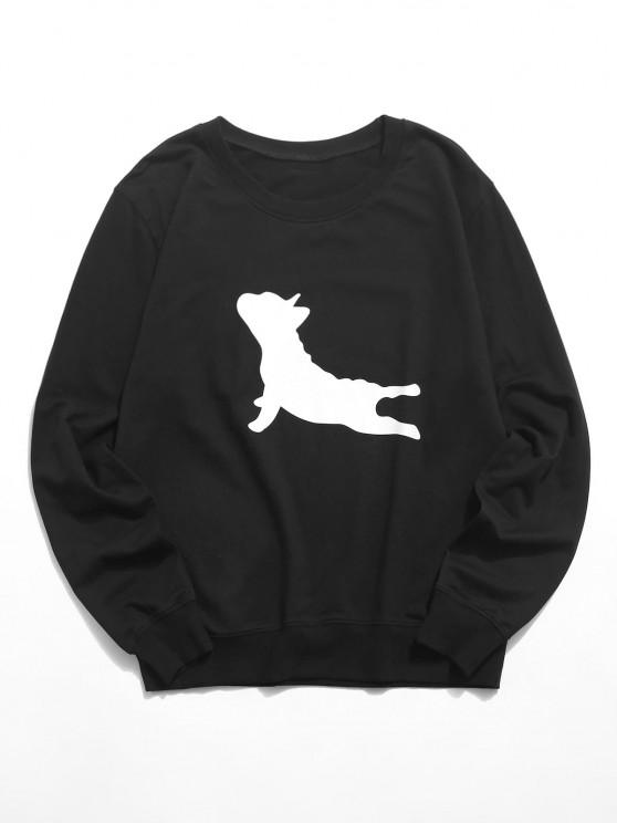 shop Lounge Dog Graphic Crew Neck Sweatshirt - BLACK XS