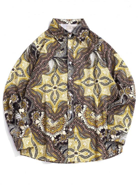 fancy Long Sleeve Allover Print Casual Shirt - COOKIE BROWN 2XL