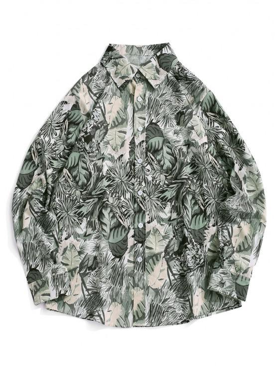 lady Plant Tiger Print Vacation Shirt - SMOKEY GRAY M