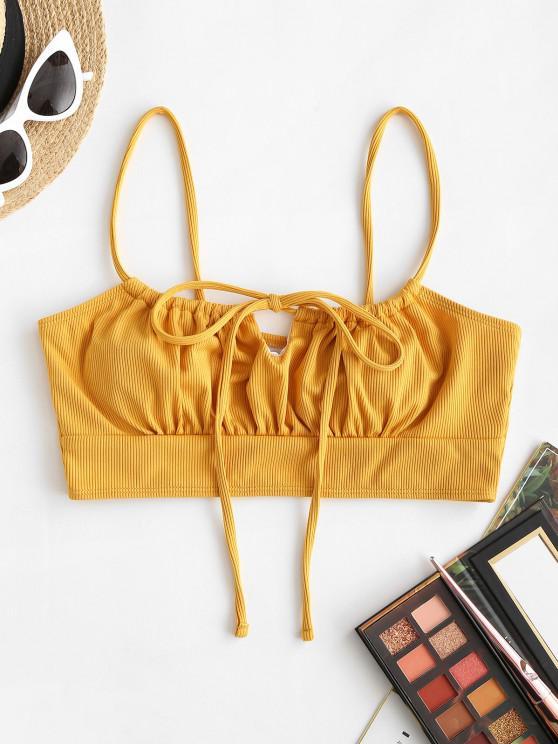 womens ZAFUL Ribbed Tie Bikini Top - DEEP YELLOW S
