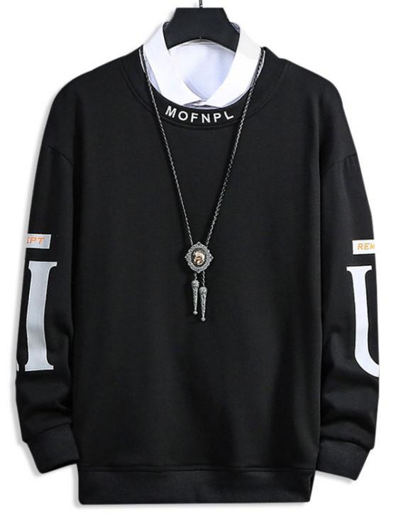 Crew Neck Letter Pattern Sweatshirt - أسود XS