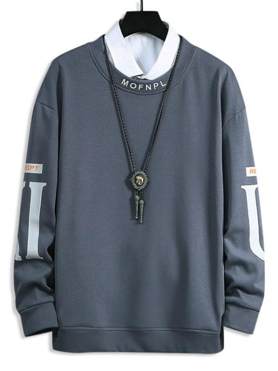 Rundhalsausschnitt Buchstabe Muster Sweatshirt - Nebel Blau S