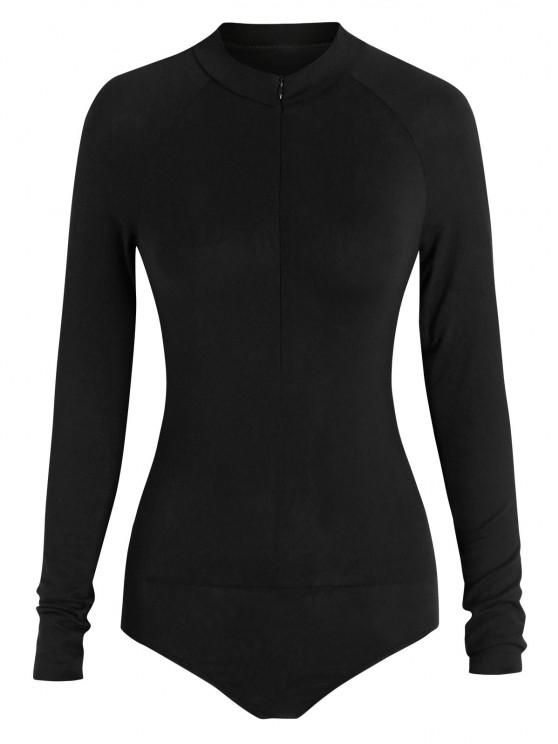 ZAFUL Mock Neck Half Zip Bodysuit - أسود S