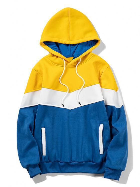 Vorder Taschen Kontrast Vlies Hoodie - Gelb L
