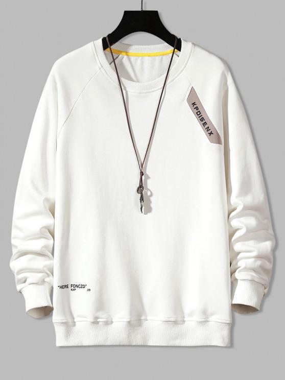 Raglan Sleeve Letter Print Crew Neck Sweatshirt - أبيض M