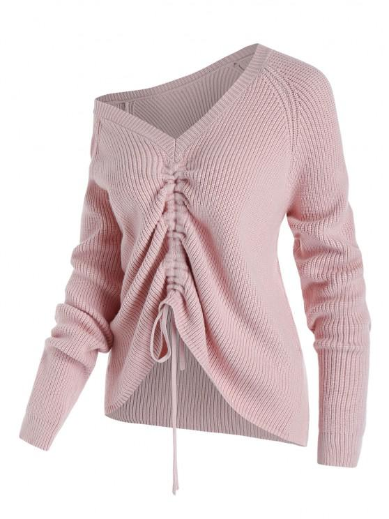 fancy Plus Size Skew Collar Cinched Front Sweater - LIGHT PINK 5X