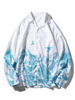 Camicia Casual A Montagna Con Maniche Lunghe - Cielo Azzurro 2xl