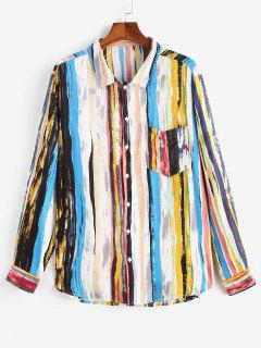 Stripes Print Curved Hem Pocket Shirt - Light Blue M