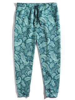 PantalonCachemire Imprimé à Taille Elastique - Paon Bleu 2xl