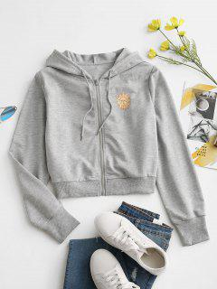 Sun Print Hooded Drawstring Jacket - Light Gray S