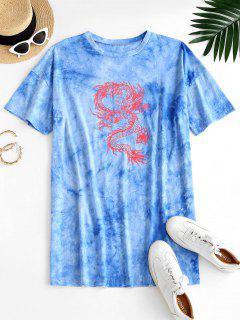 ZAFUL Orientalische Krawattenfärbende Drachendruck T-Shirt Kleid - Hellblau M