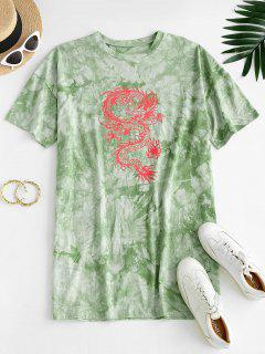 ZAFUL Oriental Tie Dye Dragon Print Tee Dress - Light Green S