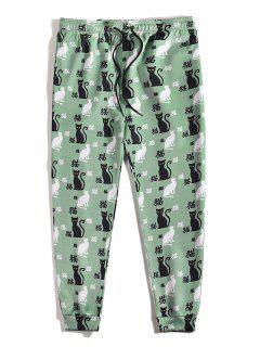 Pantalon De Survêtement Motif De Chat Caractère Chinois à Pieds Etroits - Turquoise Grisâtre 2xl