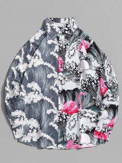 Long Sleeve Wave Print Oriental Shirt - Rose Red S