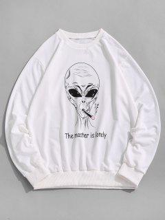 Sweat-shirt Lettre Graphique Amusant - Blanc Xl