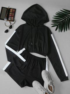 Reflective Trim Crop Hoodie And Shorts Two Piece Set - Black Xl
