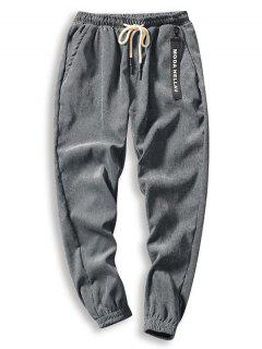 Solid Beam Feet Corduroy Pants - Gray M