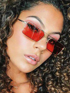 Metal Rectangle Crossbar Sunglasses - Red