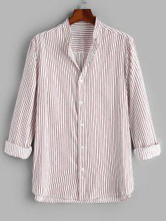 Button Down Stripes Long Sleeve Shirt - Light Pink 3xl