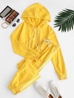 Crop Hoodie And Drawstring Stripe Trim Pants Set - Yellow S