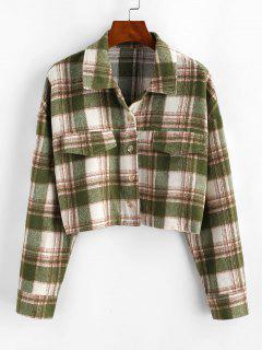 Button Up Plaid Wool Blend Shirt Coat - Light Green Xl