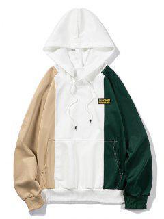 Letter Applique Raglan Sleeve Contrast Hoodie - White L