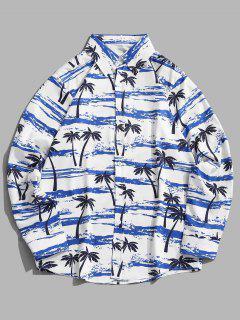 Palm Tree Seawater Print Casual Long Sleeve Shirt - Silk Blue M