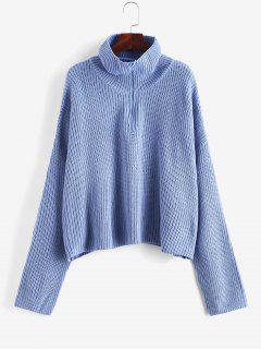 Turtleneck Half Zip Oversized Sweater - Crystal Blue