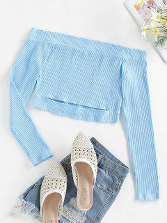 ZAFUL Rib Knit Off The Shoulder Tee - Day Sky Blue M