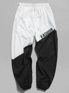 Pantalones Ajustados Estampado Letras Y Bloque Color - Blanco 3xl