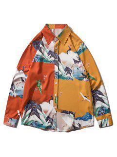 Chinoiserie Pattern Two Tone Long Sleeve Shirt - Orange Gold Xl