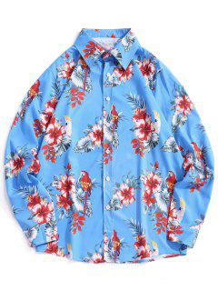 Floral Leaves Print Hawaiian Shirt - Ocean Blue L