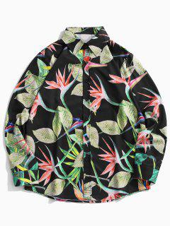 Tropical Leaves Print Floral Vacation Shirt - Pine Green M