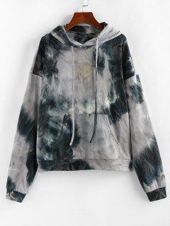 ZAFUL Tie Dye Sun Print Pullover Hoodie - Light Gray M