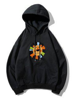 Cartoon Lion Print Casual Drop Shoulder Hoodie - Black L