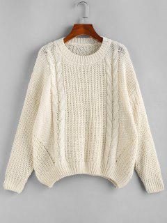 Drop Shoulder Cable Knit Loose Sweater - White S
