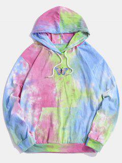 Embroidery Butterfly Tie Dye Hoodie - Light Blue L