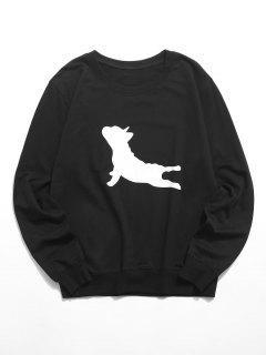 Sweat-shirtDécontractéChienGraphiqueàColRond - Noir Xs