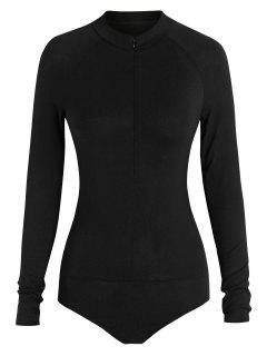 ZAFUL Mock Neck Half Zip Bodysuit - Black S