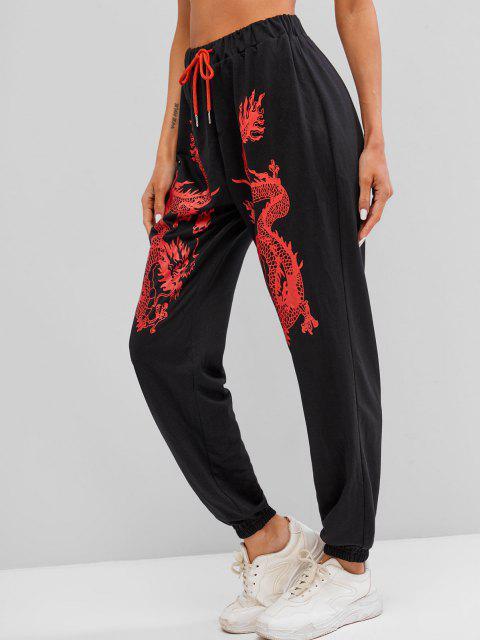 ladies ZAFUL Dragon Print Chinoiserie Jogger Pants - BLACK XL Mobile