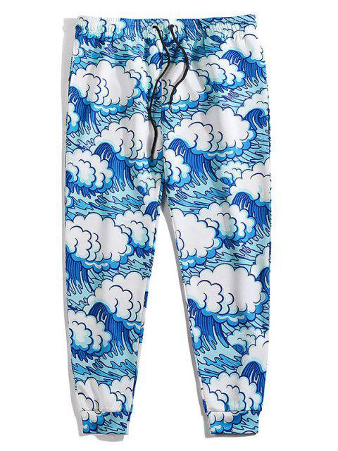 Pantalones Cintura Elástica Estampado Ondulado Mar - Azul Cristal 2XL Mobile