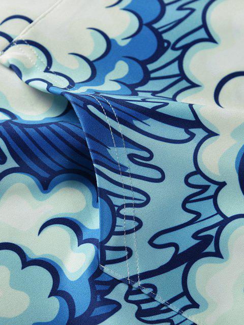 fancy Ocean Wave Carp Print Hoodie - SKY BLUE M Mobile
