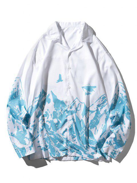 Camisa Casual de Manga Larga con Estampado de Montaña de Contraste - Celeste XL Mobile