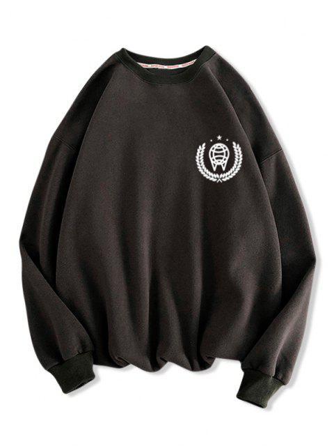 Sweat-shirt Motif Géométrique Imprimé à Col Rond - Gris Foncé 2XL Mobile