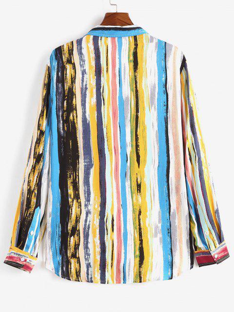 chic Stripes Print Curved Hem Pocket Shirt - LIGHT BLUE XL Mobile