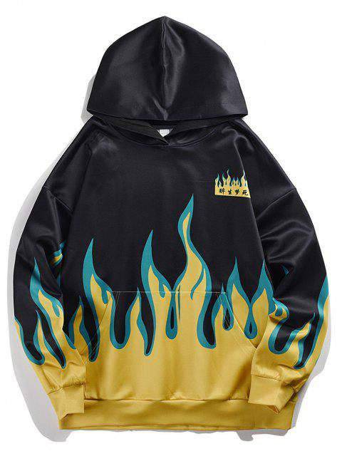Flammen Chinesische Schriftzeichen Känguru Taschen Hoodie - Schwarz M Mobile