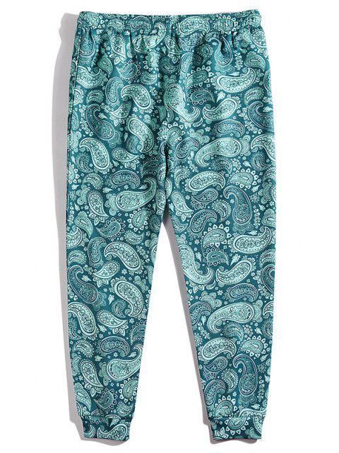 Pantalones Cintura Elástica Estampado Cachemir - Azul Eléctrico M Mobile